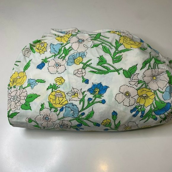 vintage fitted sheet white with blue yellow floral